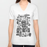 cameras V-neck T-shirts featuring Cameras by Ewan Arnolda