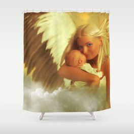 when a child giggles an angel smiles too Shower Curtain