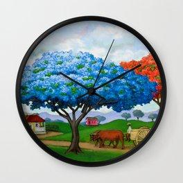 Flamboyán Azul Wall Clock