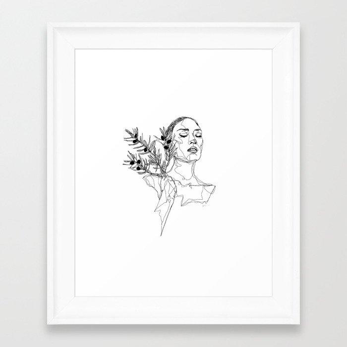 Olive (Black) Framed Art Print