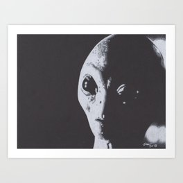 Charcoal Drawing of Alien Art Print