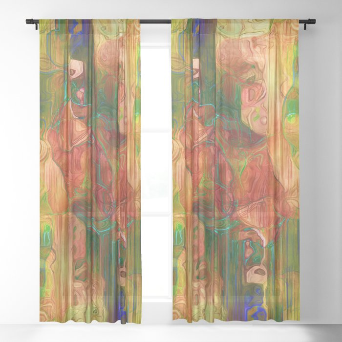 Multi Colored Yellow Green Abstract Sheer Curtain