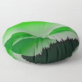 Rise above the mist. Green Floor Pillow