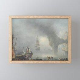 A Mediterranean coastal landscape with fishermen pulling in Framed Mini Art Print