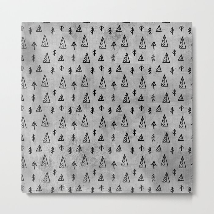 Black abstract tree pattern on concrete  -Mix&Match with Simplicty of life Metal Print