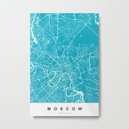 Moscow, Russia Map | Black & Blue | More Colors, Review My Collections Metal Print