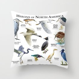 Herons of North America Throw Pillow