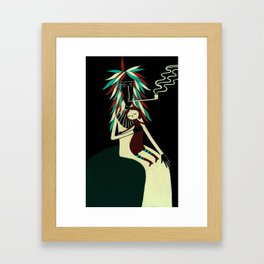 Serius Chief conforts little witch. Framed Art Print