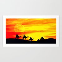 egyptian Art Prints featuring Egyptian supermoon by Pirmin Nohr