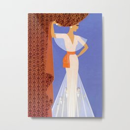 "Art Deco Illustration ""The Curtain"" Metal Print"