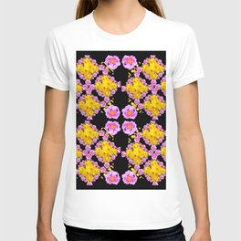 Black Roce & Yellow Color Pattern Floral T-shirt