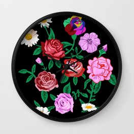 Vintage Romantica Roses Flowers Wall Clock