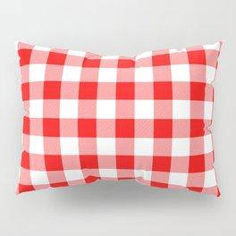 Jumbo Valentine Red Heart Rich Red and White Buffalo Check Plaid Pillow Sham