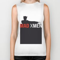 x men Biker Tanks featuring MAD X MEN by Alain Bossuyt