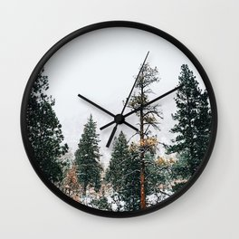 Snow Capped Pine Trees Wall Clock