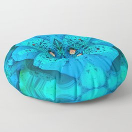 Polygonal Graphic Turquoise Floor Pillow