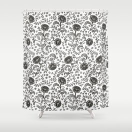 Floral Lace (black on white) Shower Curtain