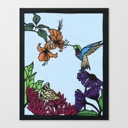 Hummingbird Garden Paper-cut  Canvas Print
