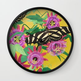 Butterflies and Passion Flowers Wall Clock