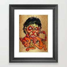 zombie eating bacon cat Framed Art Print