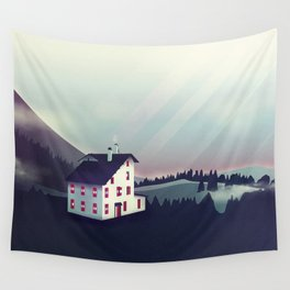 Castle in the Mountains Wall Tapestry