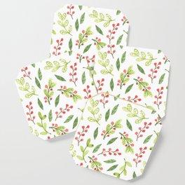 Bright Watercolor Christmas Mistletoe Pattern Coaster