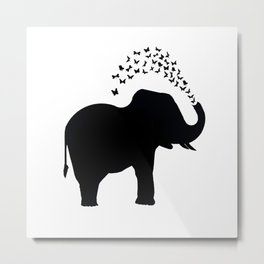 Elephant and butterfly spray Metal Print
