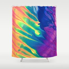 Electric Rainbow Abstract Painting Shower Curtain