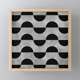 Black abstract 60s circles on concrete - Mix & Match with Simplicty of life Framed Mini Art Print
