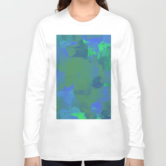 A Different View Of Earth - Abstract, textured, globe painting Long Sleeve T-shirt