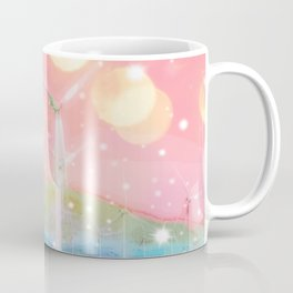 wind turbine in the desert with snow and bokeh light background Coffee Mug