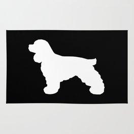 Cocker Spaniel black and white minimal modern pet art dog silhouette dog breeds square Rug