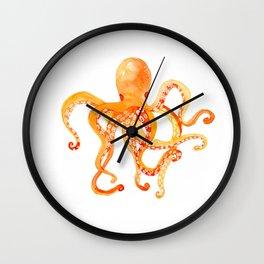 Orange octopus - kidsroomdecor, naturelove, sealife Wall Clock