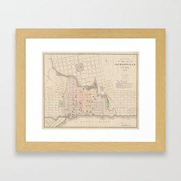 Vintage Map of Jacksonville FL (1878) Framed Art Print