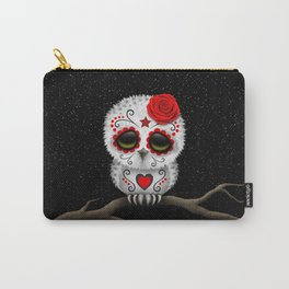 Adorable Red Day of the Dead Sugar Skull Owl Carry-All Pouch