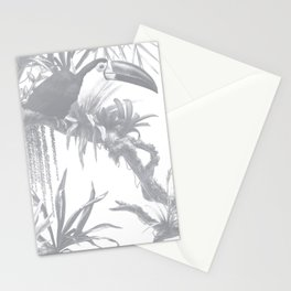 Toucans and Bromeliads - Sharkskin Grey Stationery Cards