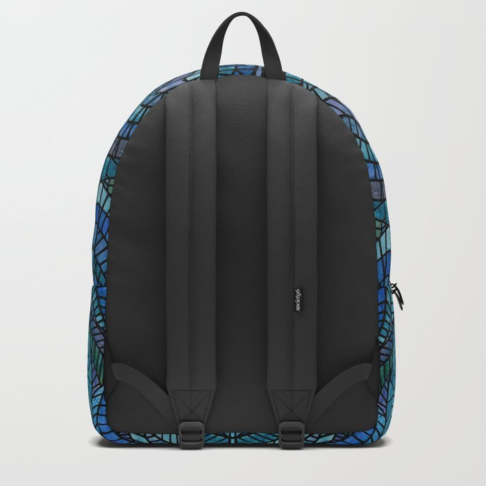Blue Geometric Mosaic Backpack