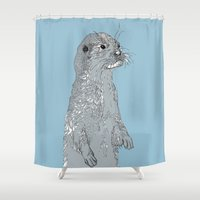 otter Shower Curtains featuring Otter by caseysplace