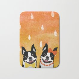 Boston Terriers Watercolor Bath Mat