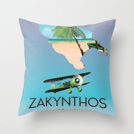 Zakynthos Greek map travel poster Throw Pillow
