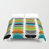 mid century modern Duvet Covers featuring Mid-Century Modern Geometric by Kippygirl
