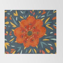 Decorative Whimsical Orange Flower Throw Blanket