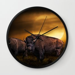 American Buffalo Bison under a Super Moon Rise Wall Clock