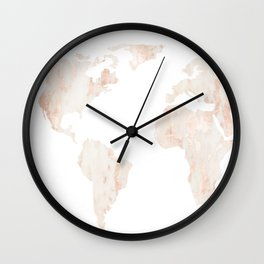 Marble World Map Light Pink Rose Gold Shimmer Wall Clock