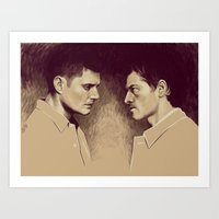 destiel Art Prints featuring Destiel. I see Darkness by Armellin