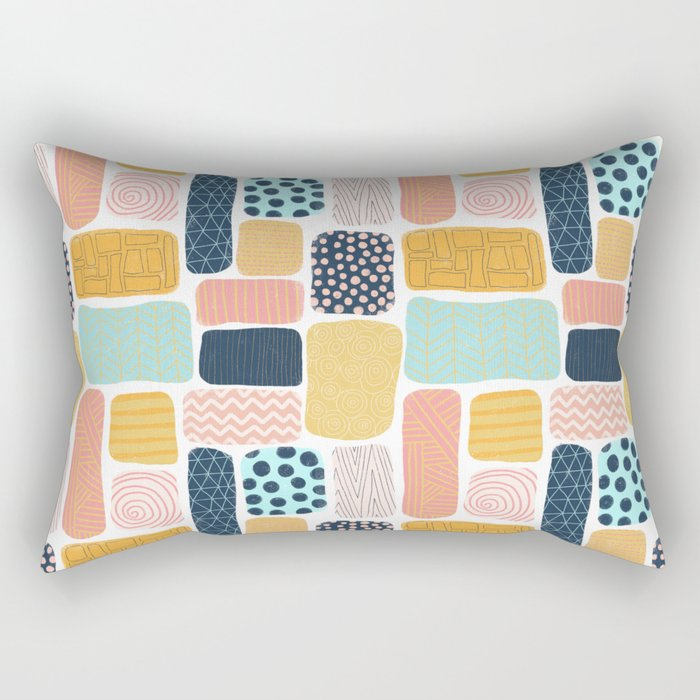 Abstract doodle shapes pattern Rectangular Pillow