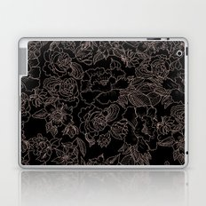 Pink coral tan black floral illustration pattern Laptop & iPad Skin