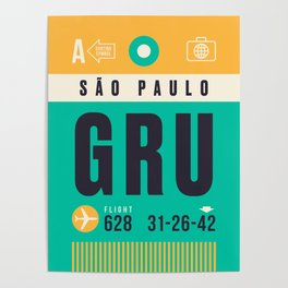 Baggage Tag A - GRU Sao Paulo Guarulhos Brazil Poster