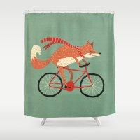 mr fox Shower Curtains featuring mr. fox by tesslucia