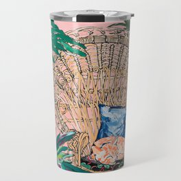 Ginger Cat in Peacock Chair with Indoor Jungle of House Plants Interior Painting Travel Mug